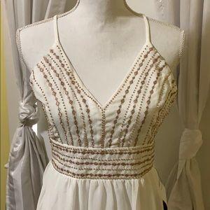 Lulus White maxi dress with gold beading, NWT